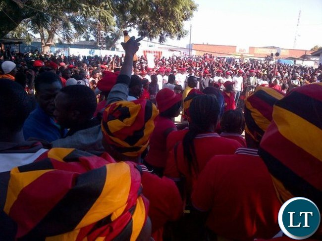 UPND cadres in Matero before police tear gased the meeting