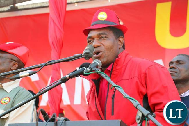 HH addressing the UPND Rally at Freedom Park in Kitwe