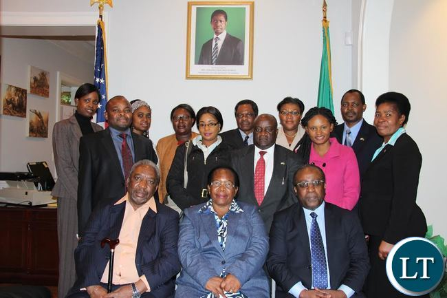 Chief Justice Ireen Mambilima, Chargé d'Affaires Joseph Chilaizya and Diplomatic and Judiciary staff at the Embassy of Zambia in Washington DC.