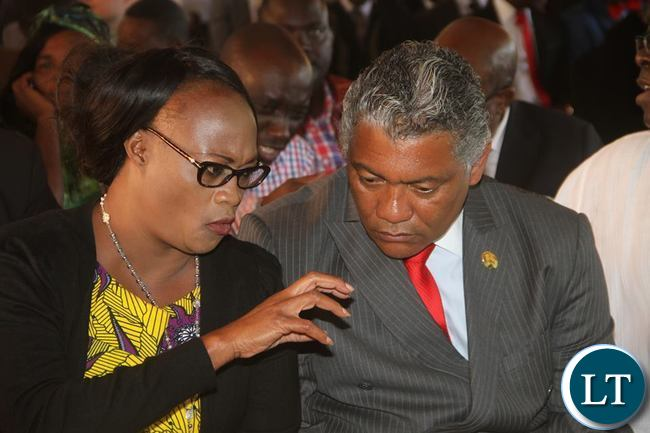 PF deputy Secretary General Mumbi Phiri talks to Agriculture minister Given Lubinda during the Press Conference at State House on Friday, May 13,2016 -Picture by THOMAS NSAMA