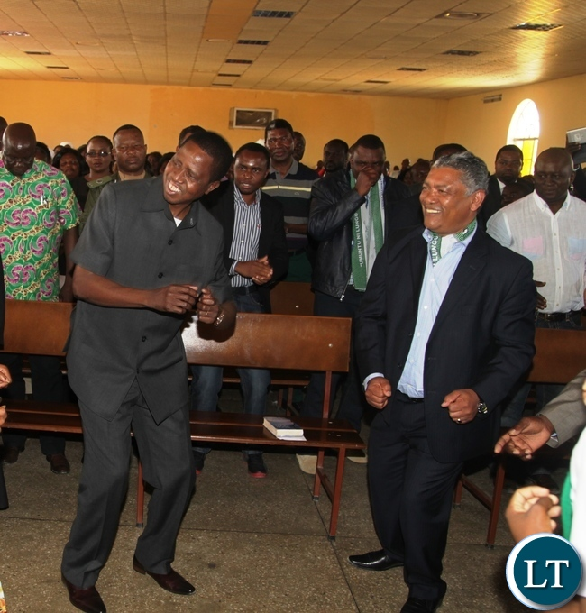 President Edgar Lungu and Agriculture Minister Given Lubinda celebrting the Lord through Dancing at Kabundi Kapisha UCZ Congregation in ChingolaPresident Edgar Lungu and Agriculture Minister Given Lubinda celebrting the Lord through Dancing at Kabundi Kapisha UCZ Congregation in Chingola