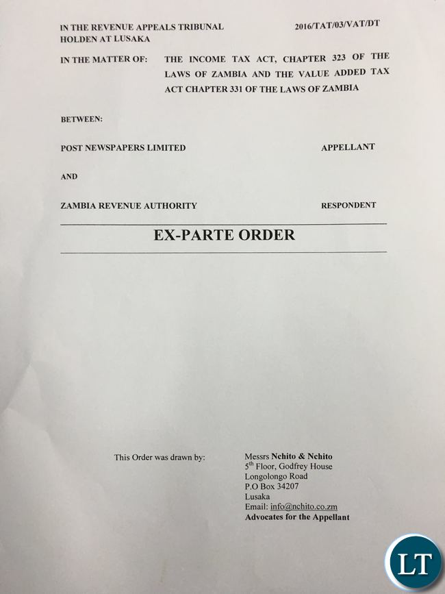 A copy of the Ex Parte Order obtained by the Post  Newspaper