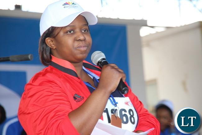 Chiyesu Lungu delivering her speech.