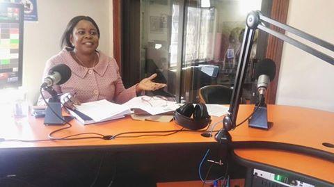 Maureen Mwanawasa speaking inside Radio Phoenix  studios