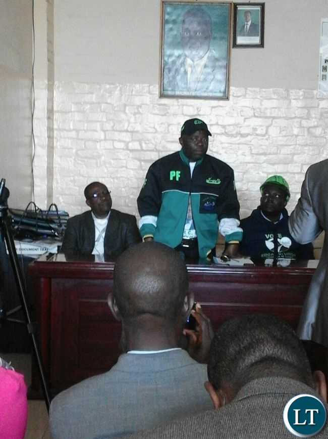 Mr Kampyomgo addressing a media briefing