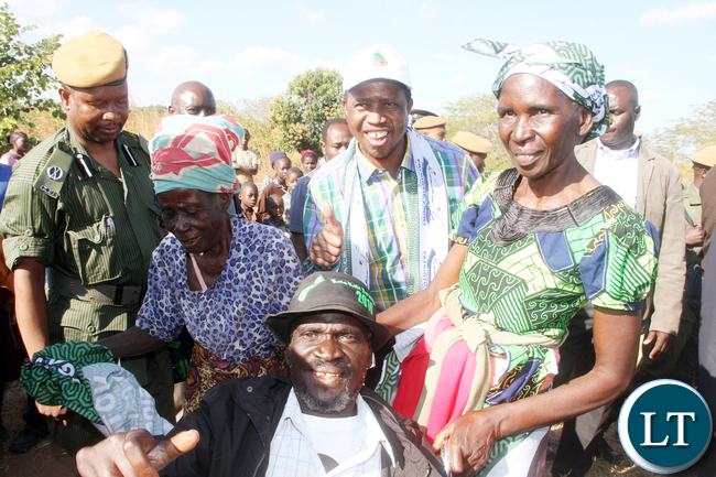 President Lungu with Rufunsa residents on arrival for a rally