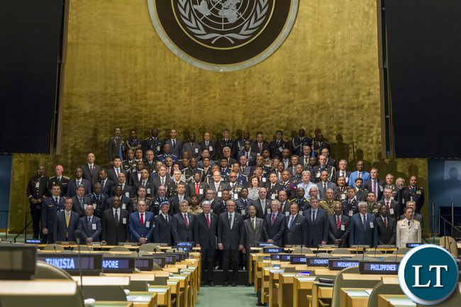 "Summit entitled ""United Nations Chiefs of Police"" (organized by the United Nations Police Division, Department of Peacekeeping Operations (DPKO)) United Nations Chiefs of Police Summit (UN COPS) (OPENING REMARKS) - Group Photo of Chiefs of Police with ASG DPA Miroslav Jenca, USG DPKO Herve Ladsous, UN Deputy SG Jan Eliasson & USG DFS Atul Khare"