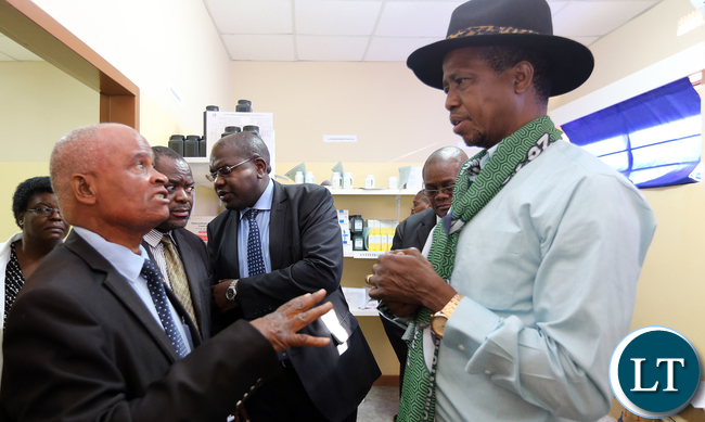 President Edgar Lungu talks  Chief Mpuka during the tour of  Luangwa District Hospital on Thurday - Picture  by Eddie Mwanaleza 23-06-2016.