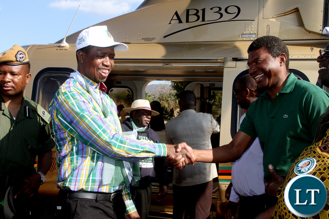 President Lungu being welcomed by Captain Chewe on arrival for a rally