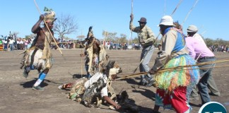 WARRIORS! Dancers demonstrate how they used to kill a lion in the old days. This was during the first ever Samu Lya Moomba Lwiindi Traditional Ceremony of the Tonga speaking people of Choongo Chiefdom in Monze District
