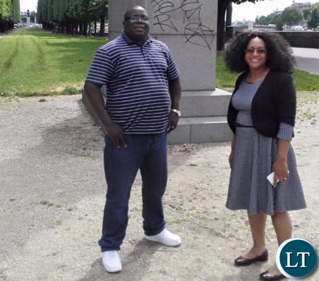 Information and Broadcasting Services, Chishimba Kambwili with his wife in Paris, France.