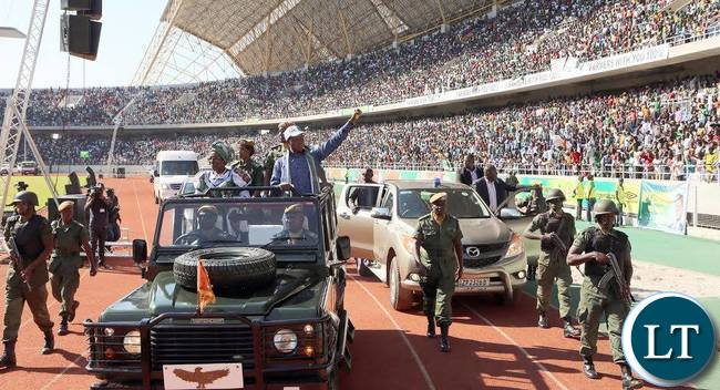 President Edgar Lungu and his Running Mate Mrs Inonge Wina arrive at Levy Mwanawasa Stadium for a rally in Ndola