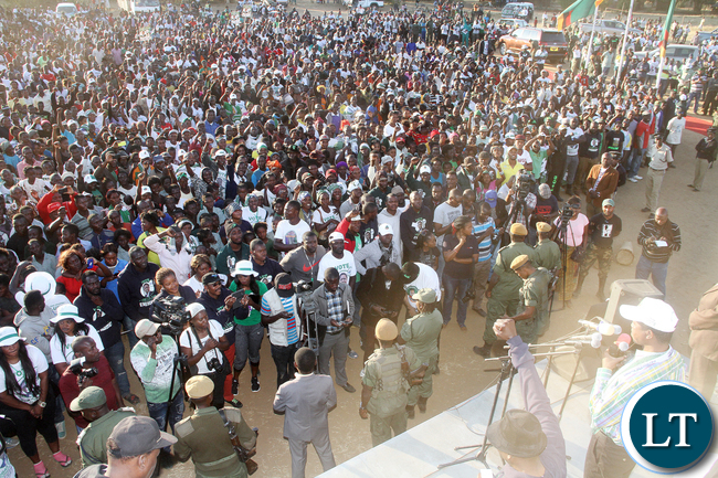 President Lungu addresses a rally in Rufunsa