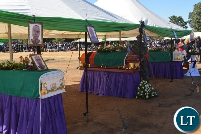 Funeral of Hillcrest National Technical Secondary School accident victims at Villa Grounds in Livingstone