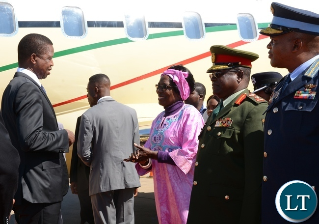 President Lungu with vice President Inonge Wina during his arrival from Uganda at Kenneth Kaunda International Airport Lusaka