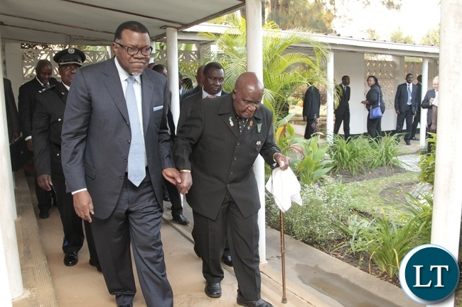 First Republican President Dr.Kenneth Kaunda and Namibian President Dr. Hage Geingob walks hand in hand at Dr. Kaunda's his offic