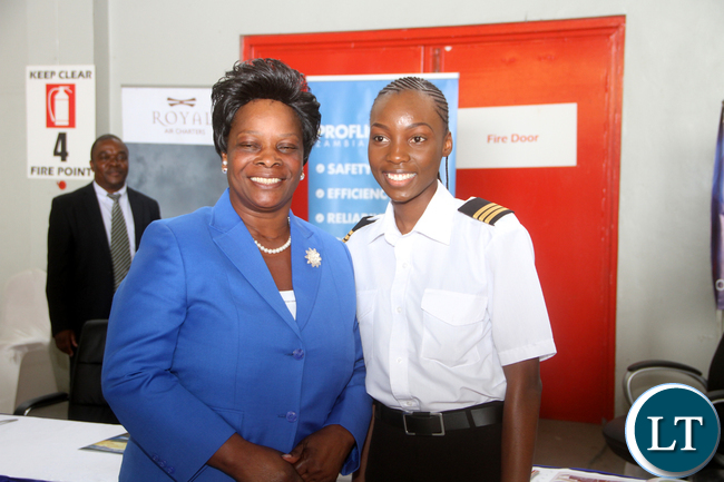 First Lady Esther Lungu with youngest female Pilot in Zambia Besa Mumba (19) during the Launch of Women in Aviation Zambia Capter at Kenneth Kaunda International Airport -Picture by THOMAS NSAMA