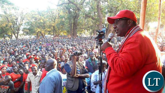 UPND Vice President Geoffery Mwamba addressing a rally in Chingola