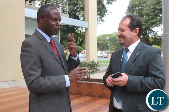 ZNBC DG Richard Mwanza with Airtel Zambia CEO Peter Correia