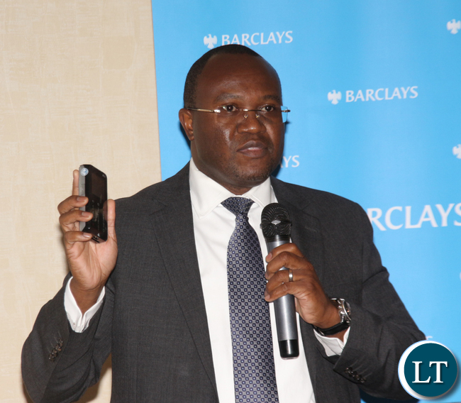 BARCLAYS BANK MD Saviour Chibiya officiates at the official launch of the Mobile Point of sales device and network at Southern Sun Hotel on Wednesday July 13th 2016.