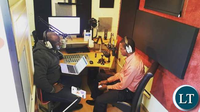 Inside the Hot FM Outside Broadcast Unit during an interview with President Lungu in Kawambwa