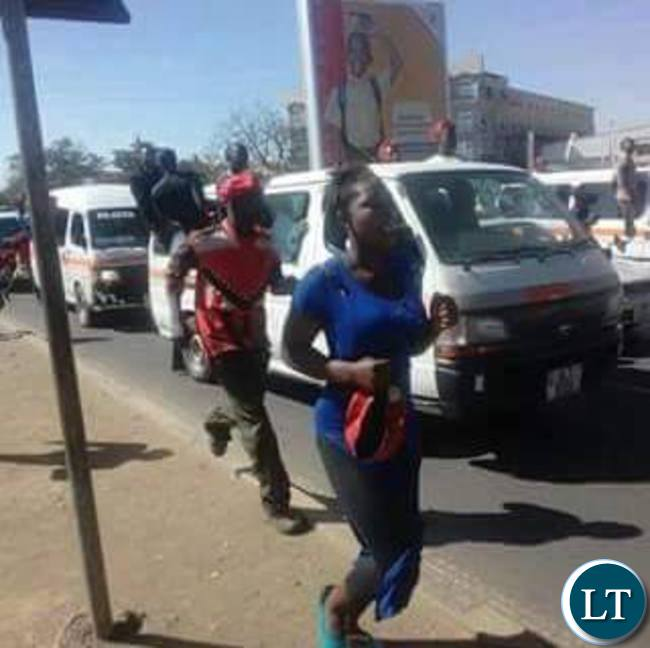 Mapenzi Chibulo, a UPND cadre running for her life moments before she was shot dead by police during the protests in Lusaka