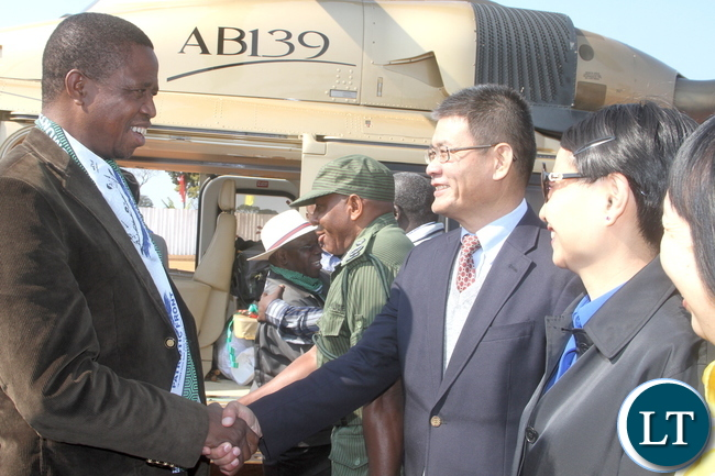 President Lungu being welcomed by Chinese Ambassador to Zambia on arrival in Luwingu for the Commissioning of Mansa –Luwingu Road on Monday, July 18,2016 –Picture by THOMAS NSAMA