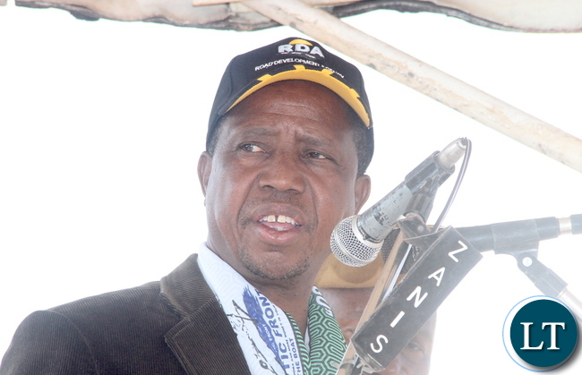 President Lungu speaks during the Commissioning of Mansa -Luwingu Road in Luwingu  on Monday, July 18,2016 –Picture by THOMAS NSAMA