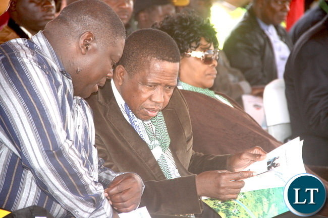 President Lungu with Works and Supply Minister Yamfwa Mukanga and First Lady Esther Lungu during the Commissioning of Mansa -Luwingu Road in Luwingu on Monday, July 18,2016 –Picture by THOMAS NSAMA