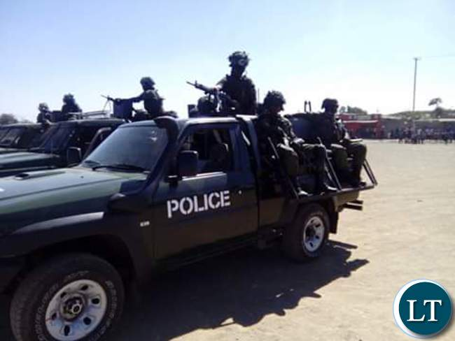 Police seal off the venue of the scheduled rally in Chawama
