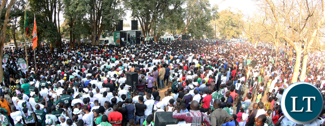 President Edgar Lungu arrive at the Rally in Mumbwa on Sunday