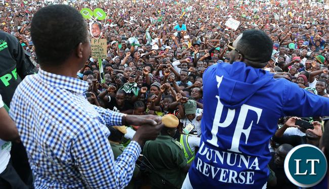 President Edgar Lungu at a rally in Chirundu