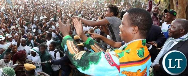 President Lungu at the Rally in Mumbwa on Sunday