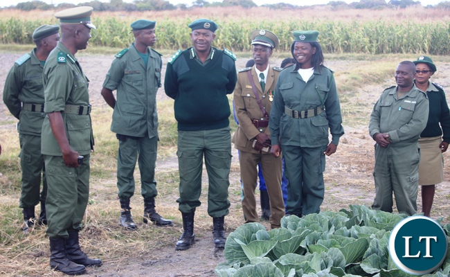 Zambia Correctional Service Commissioner Percy Chato (center) with his officers inspecting vegetable garden in kabwe during the tour of developmental projects.