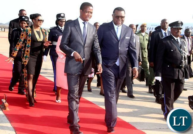President Lungu with Namibian President Hage Geingob on arrival at Kenneth Kaunda International Airport for the official opening of the Agricultural and Commercial Show on Friday, July 29,2016-Picture by THOMAS NSAMA
