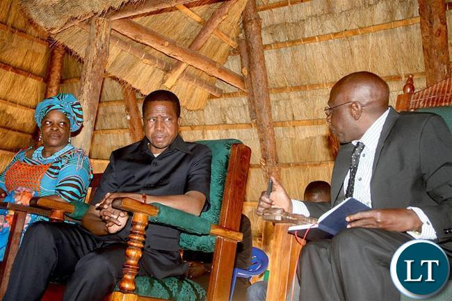 President Edgar Lungu with Chitimukulu at his palace on Sunday - Picture  by Eddie Mwanaleza