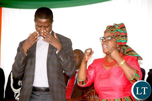 President Lungu and First Lady Esther Lungu during the National Day of prayers for Peaceful Elections at Lusaka's show grounds on Sunday, July 24,2016 -Picture by THOMAS NSAMA
