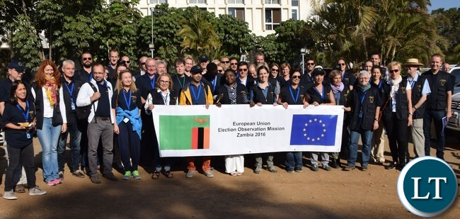 Group photo of the EU EOM's short-term observers, with Chief Observer Cecile Kyenge in the middle
