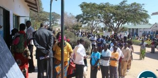 CHOMA residents queue up at Adastra Primary School polling station yesterday to cast their votes for their preferred candidates in the 2016 General Elections and referendum.