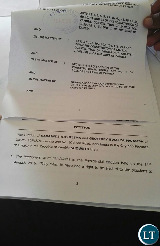 Copies of petition papers
