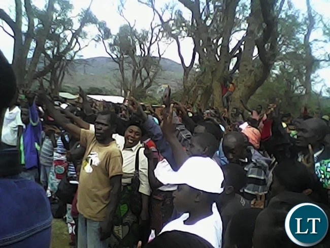 UNIP public rally at Mpezeni park square in Chipata yesterday.Party presidential hopeful Tilyenji Kaunda address the meeting.