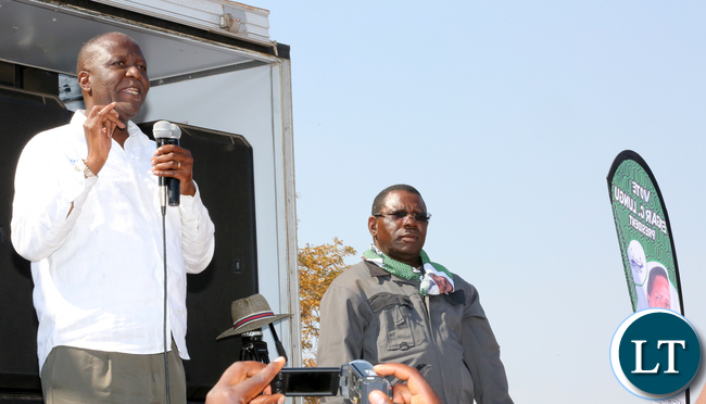 MMD President Felix Mutati with Samuel Mukupa at Pf Rally in Lundazi