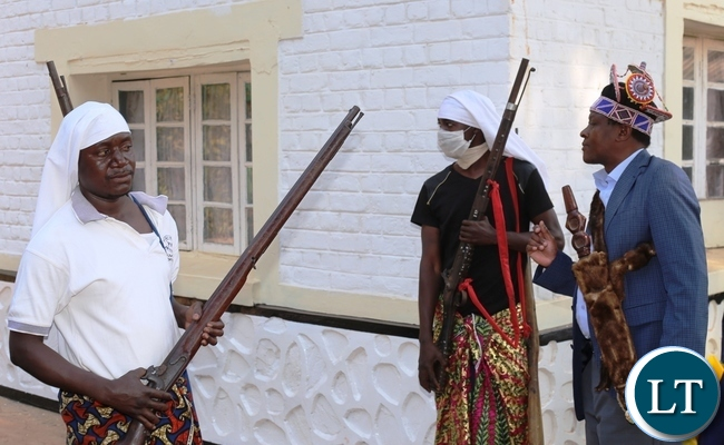 THE Mwata addressing his soldiers at his palace before proceeding to the main arena for the conquest dance.