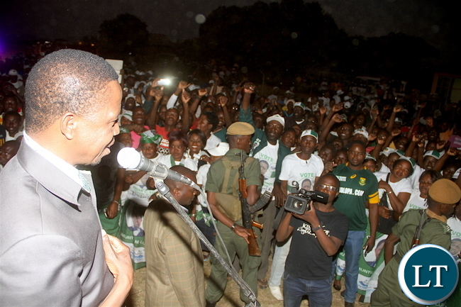 PRESIDENT LUNGU ADDRESSES SUPPORTERS 0444