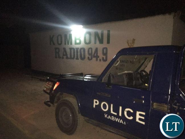 Police officers seal off Komboni Radio premises last night