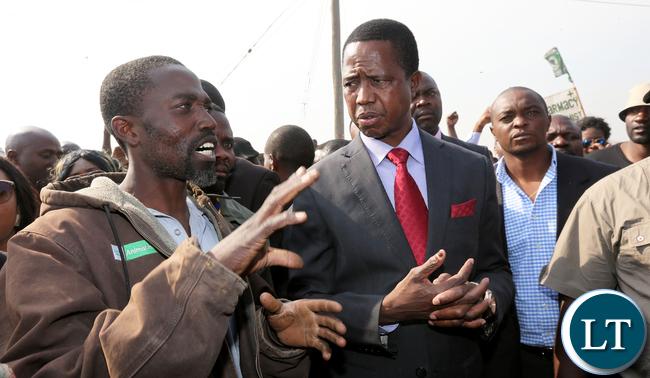 President Edgar Lungu tour Bauleni Market Burned