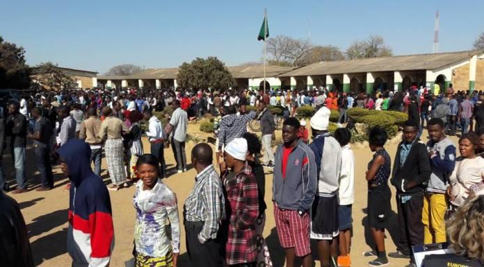 Voters waiting to cast their votes at Kalingalinga Middle Basic School, Lusaka