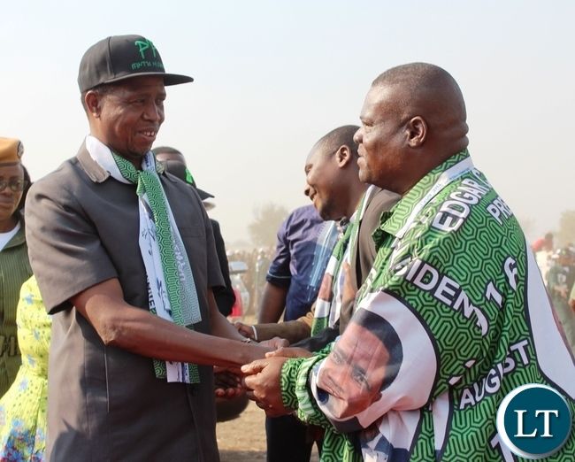 MAMBWE District Patriotic Front Chairperson, Imange Phiri, welcomes President Edgar Lungu at Mfuwe international airport in Mambwe district on Wdnesday. The President was in the area for a campaign meeting in Malambo constituency.