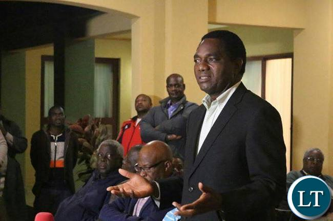 UPND leader Hakainde Hichilema addressing media from his residence