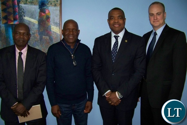 AMI Senior Adviser Wangethi Mwangi, Post Editor Fred M'membe, IPI Executive Board Chair John Yearwood and IPI Director of Advocacy Steven M. Ellis during a meeting in Lusaka, Zambia on July 14, 2016